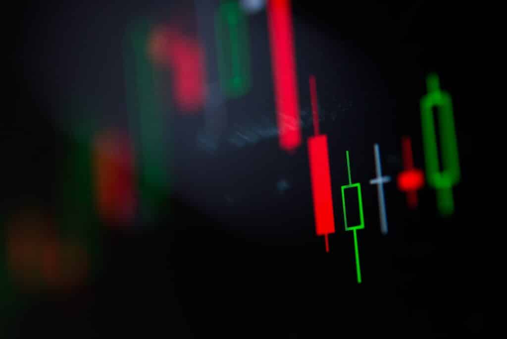 Close-up LED charts and summary info for making stock trading graph